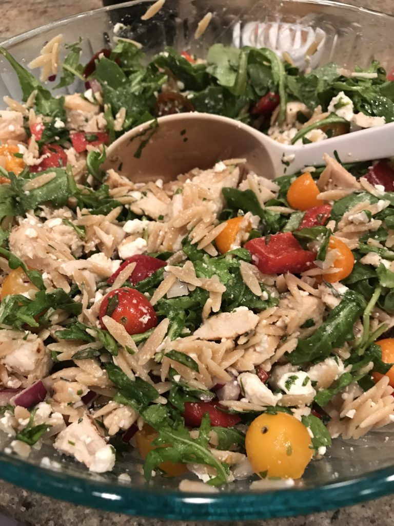Arugula, chicken and orzo salad