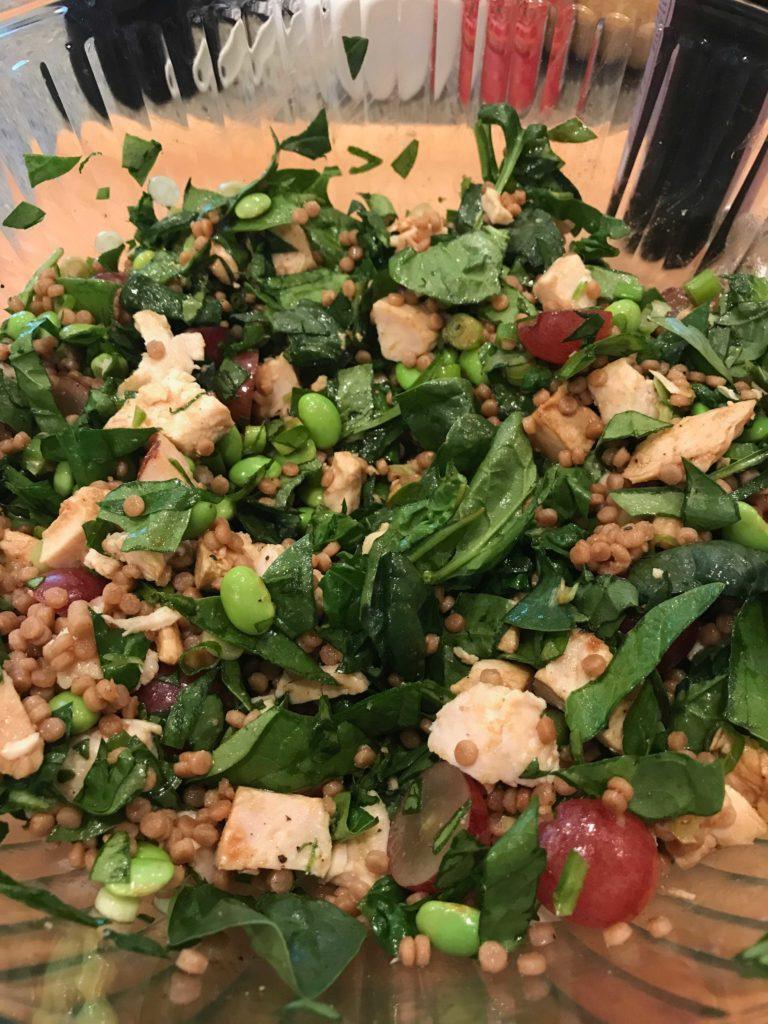 Chicken, Edamame, Spinach Salad